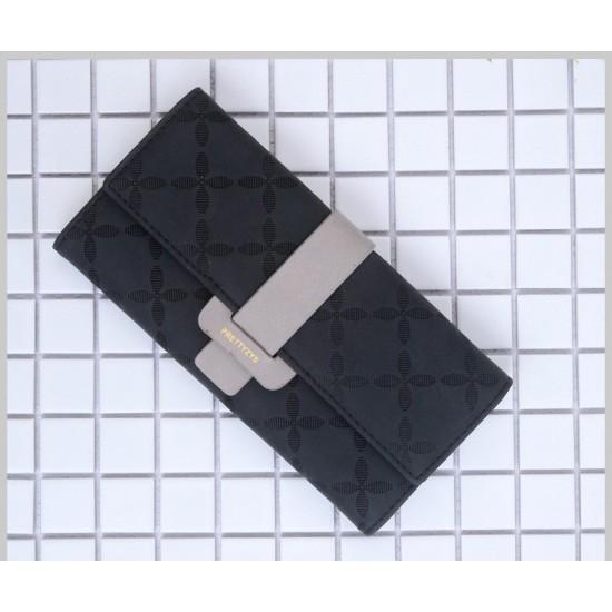 Quality Floral Engraved Buckle Ladies Wallet -Black image