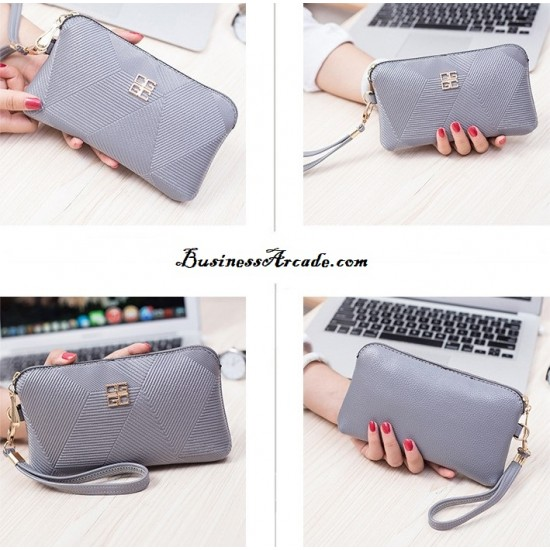European Design Pu Leather Ladies Wallet -Grey image