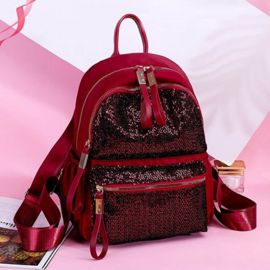 Vintage Fashion Leather Sequins Decorated Backpack - Red image