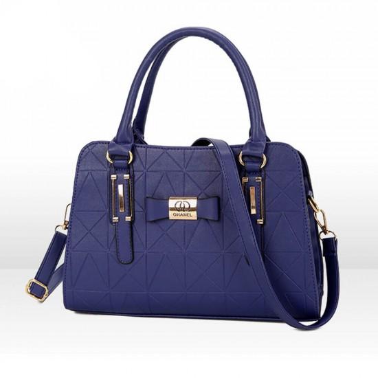 Bow Knot Patched Geometric Pattern Shoulder Handbag - Blue image