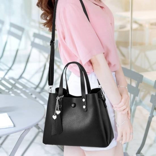 Soft Surface Small Sling Ladies Shoulder Handbag - Black image