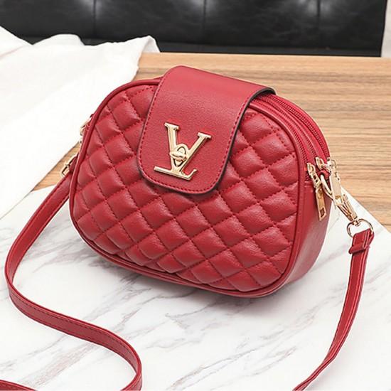 Patchwork Texture Crossbody Leather Shoulder Bag - Red image