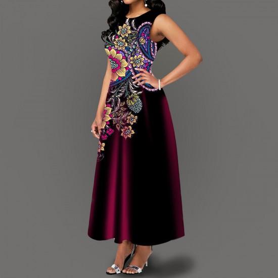 Versatile Floral Print Sleeveless Maxi Dress -Maroon image