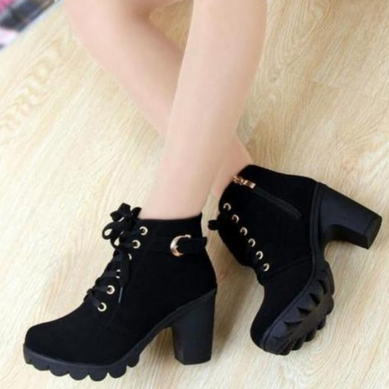 Martin Style Round Toe Lace up Ankle Boots -Black image