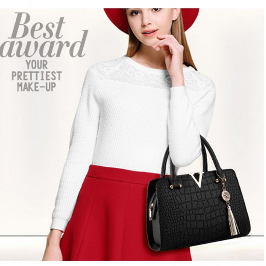 European Fashion Crocodile Pattern Women Handbag-Black image