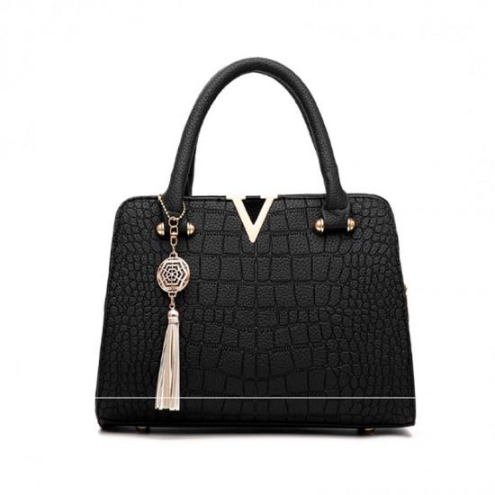 European Fashion Crocodile Pattern Women Handbag-Black image