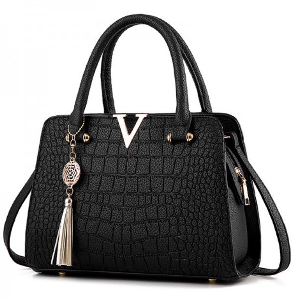 European Fashion Crocodile Pattern Women Black Color Handbag image