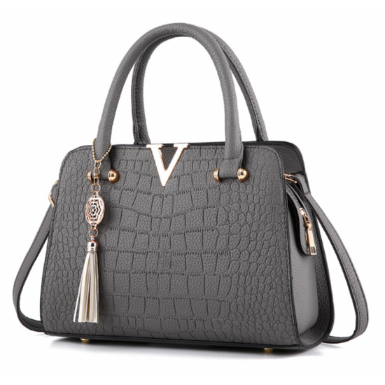 European Fashion Crocodile Pattern Women Handbag-Grey image
