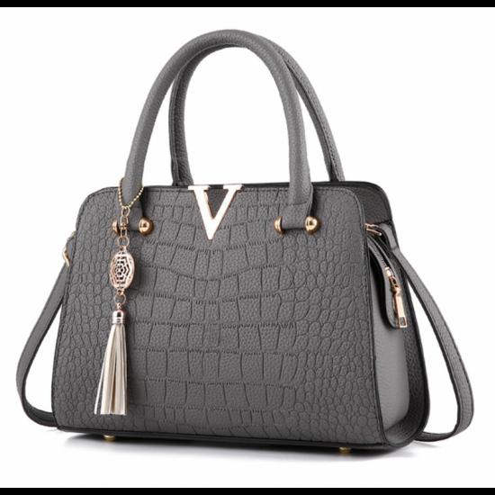 European Fashion Crocodile Pattern Women Handbag-Grey image