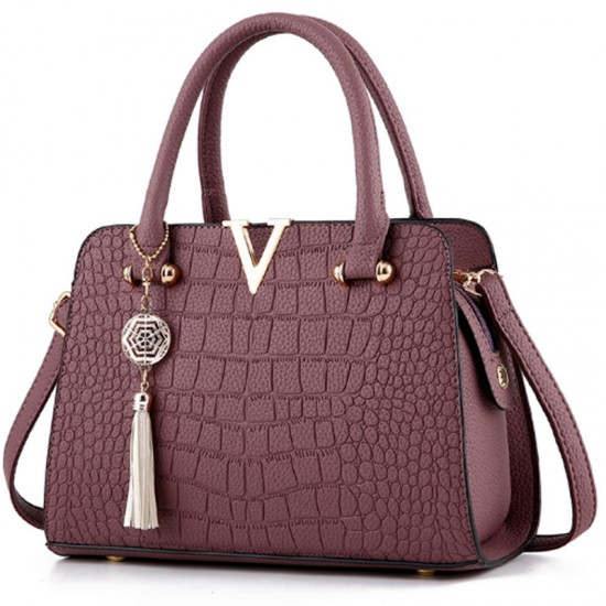 European Fashion Crocodile Pattern Women Handbag-Maroon image