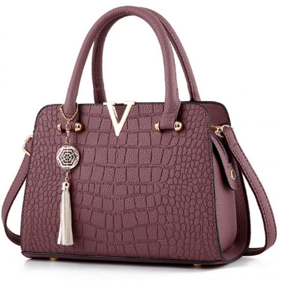 European Fashion Crocodile Pattern Women Handbag-Maroon image