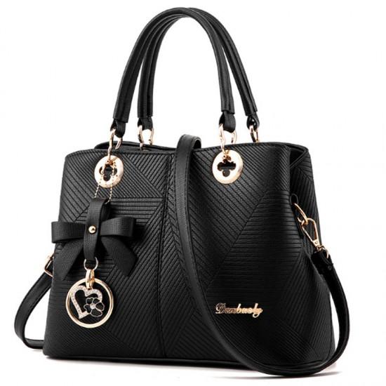Trendy Fashion Shoulder Messenger Women Handbag-Black image