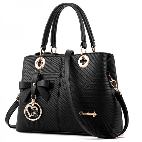 Trendy Fashion Shoulder Messenger Women Black Handbag image
