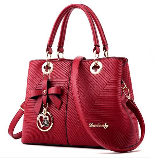 Trendy Fashion Shoulder Messenger Women Red Handbag image