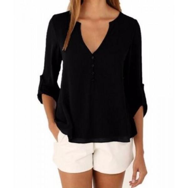 Women Fashion Long Sleeve V Neck Black Loose Chiffon Shirt image