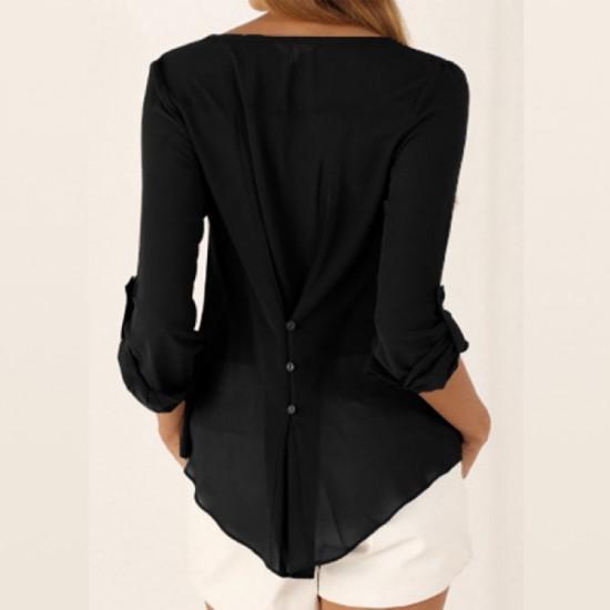 Women Stylish Long Sleeve V Neck Loose Chiffon Shirt-Black image