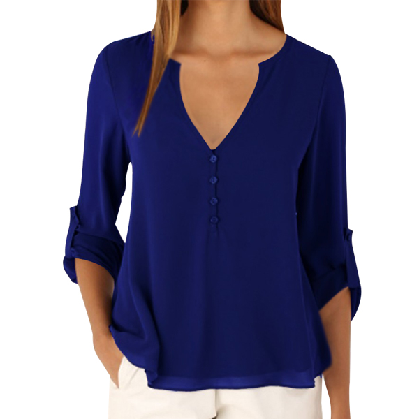 Women Fashion Long Sleeve V Neck Blue Loose Chiffon Shirt image
