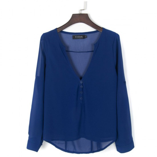 Women Stylish Long Sleeve V Neck Loose Chiffon Shirt-Blue image