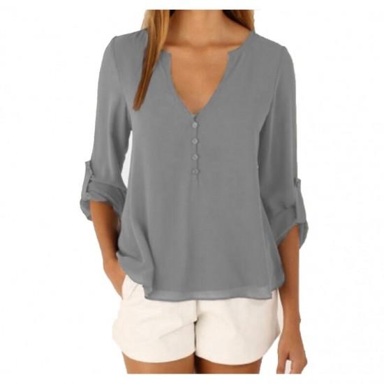 Women Stylish Long Sleeve V Neck Loose Chiffon Shirt-Grey image