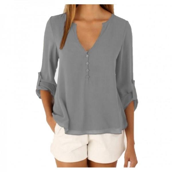 Women Fashion Long Sleeve V Neck Grey Loose Chiffon Shirt image