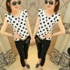 Womens Fashion White Color Sleeveless Round Collar Chiffon Tops image