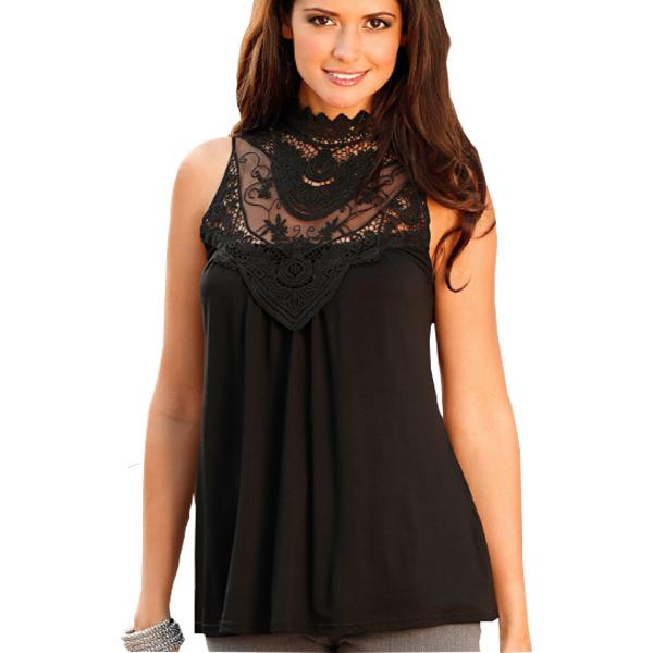 Black Color Lace Sleeveless Vest T Shirt For Women image