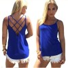 Women Fashion Round Neck Blue Color Sleeveless Vintage Shirt image