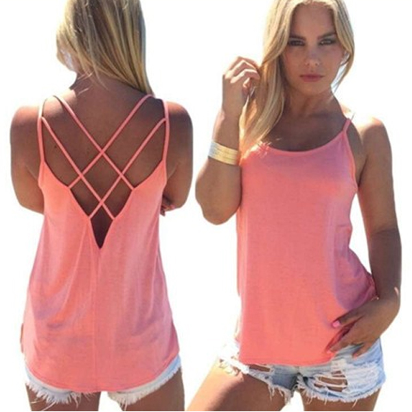 Womens Fashion Round Neck Pink Color Sleeveless Vintage Shirt image