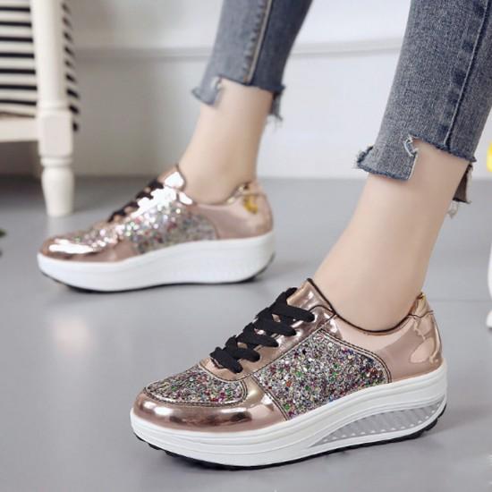 Stylish Round Toe Lace Up Shinning Glitter Sneaker -Golden image