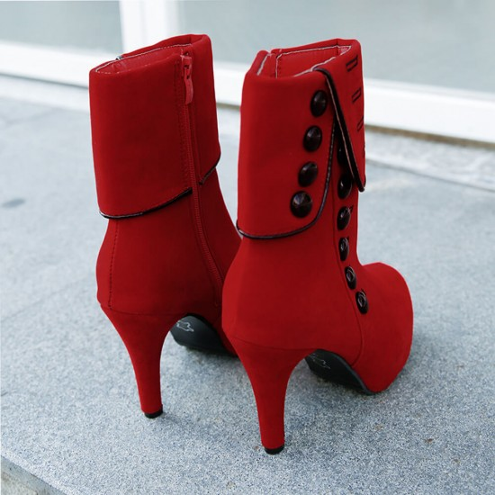 Suede Button Long Hot Style High Heeled Button Boots -Red image