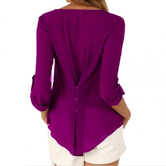Women Stylish Long Sleeve V Neck Loose Chiffon Shirt-Purple image