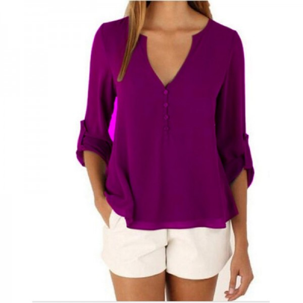Women Fashion Long Sleeve V Neck Purple Loose Chiffon Shirt image