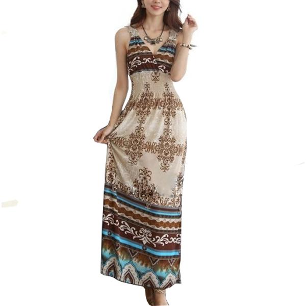 Multi Color Bohemian Beach Print V Collar Dress For Womens WC-40 image