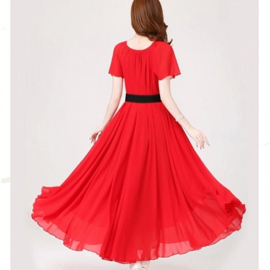 Short Sleeves Bohemian Beach Maxi Chiffon Dress For Women-Red image