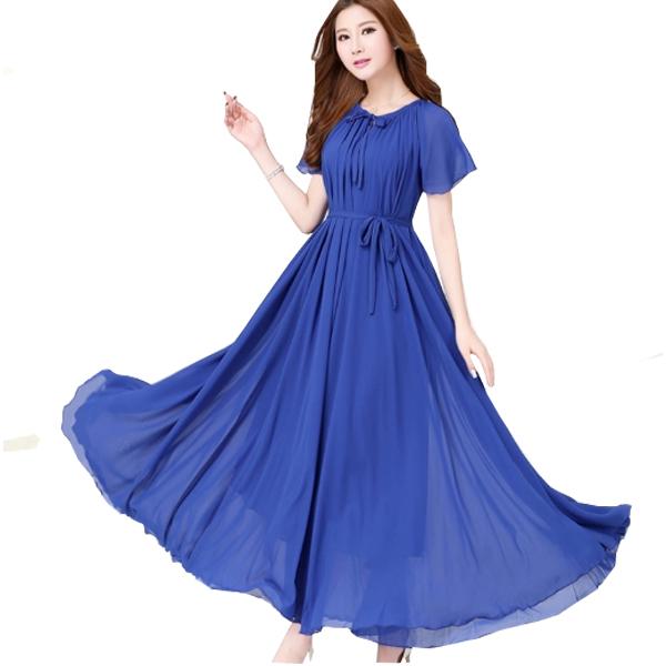 Blue Color Short Sleeves Bohemian Beach Maxi Chiffon Dress For Women image