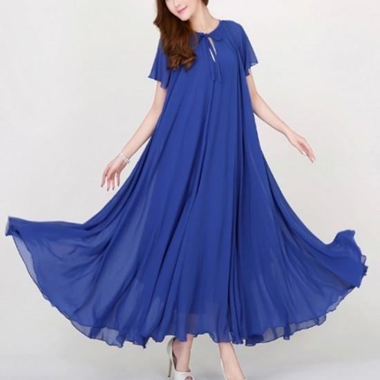 Short Sleeves Bohemian Beach Maxi Chiffon Dress For Women-Blue image
