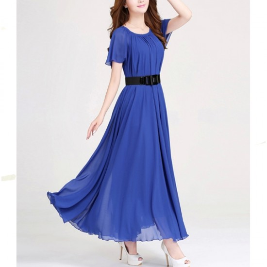 Short Sleeves Bohemian Beach Maxi Chiffon Dress For Women-Blue image