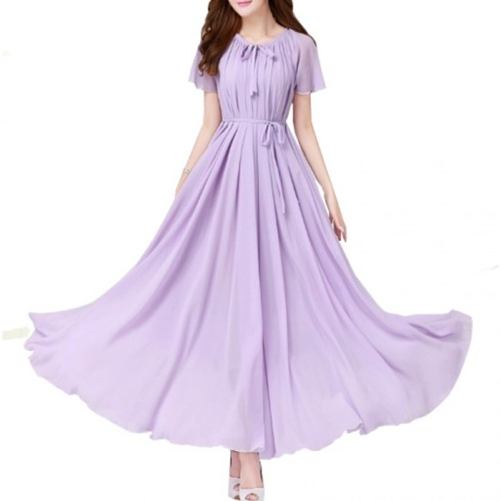 Short Sleeves Bohemian Beach Maxi Chiffon Dress For Women-Purple image