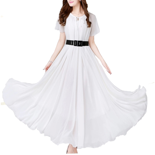 White Color Short Sleeves Bohemian Beach Maxi Chiffon Dress For Women image