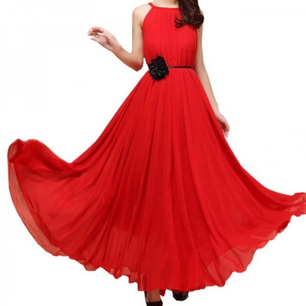 Women Fashion Red Color Beach Bohemian Elegant Chiffon Maxi Dress image