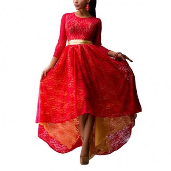 Women Fashion Lace Hem Asymmetric Maxi Dress-Red image