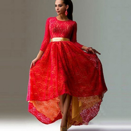 Women Fashion Lace Hem Asymmetric Maxi Dress-Red image