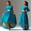 Women Blue Lace Hem Color Asymmetric Maxi Dress image
