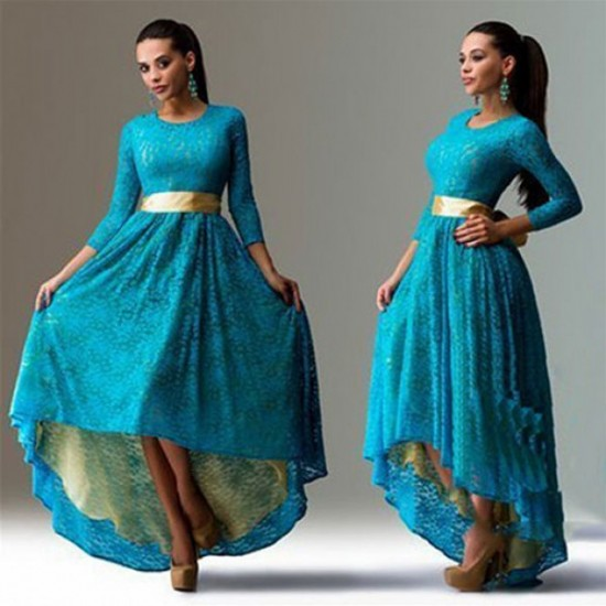 Women Fashion Lace Hem Asymmetric Maxi Dress-Blue image