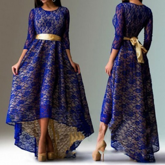Women Fashion Lace Hem Asymmetric Maxi Dress-Navy Blue image