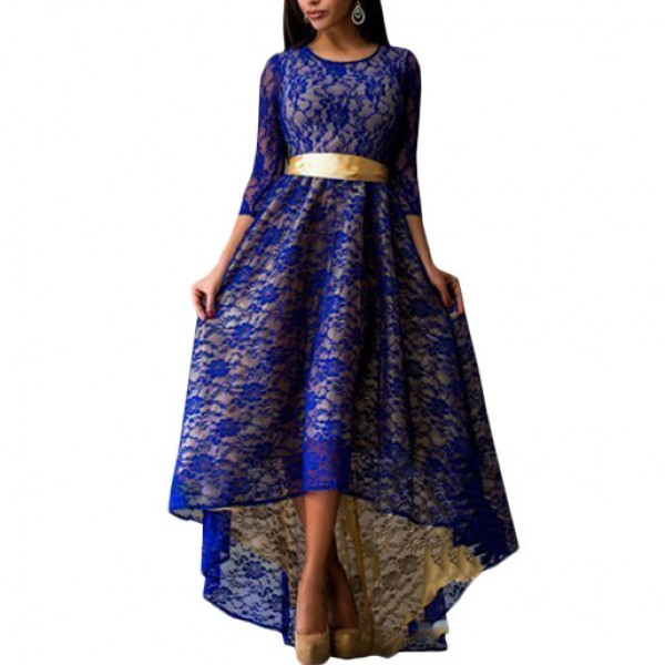 Women Navy Blue Lace Hem Asymmetric Maxi Dress image