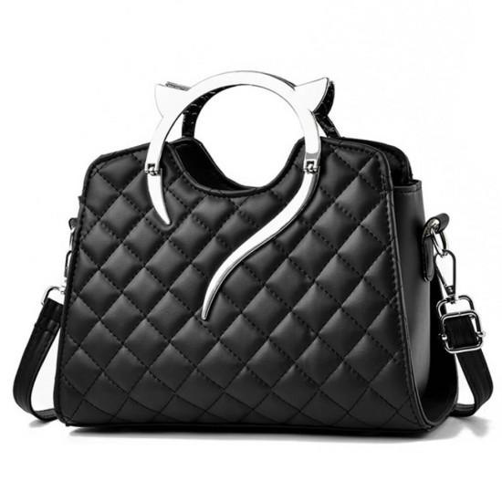 Premium Rhombus Pattern Solid color Square Messenger Bag -Black image