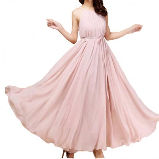 Sleeveless Bohemian Beach Maxi Chiffon Dress For Women-Pink image