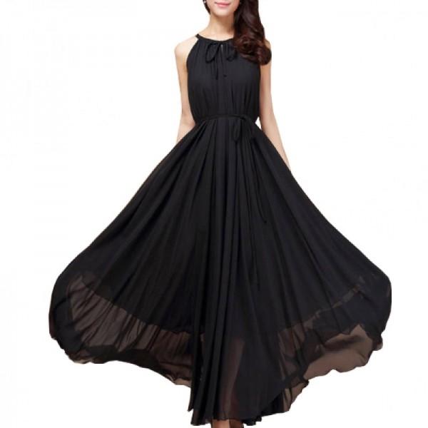 Women Fashion Black Color Beach Bohemian Elegant Chiffon Maxi Dress image