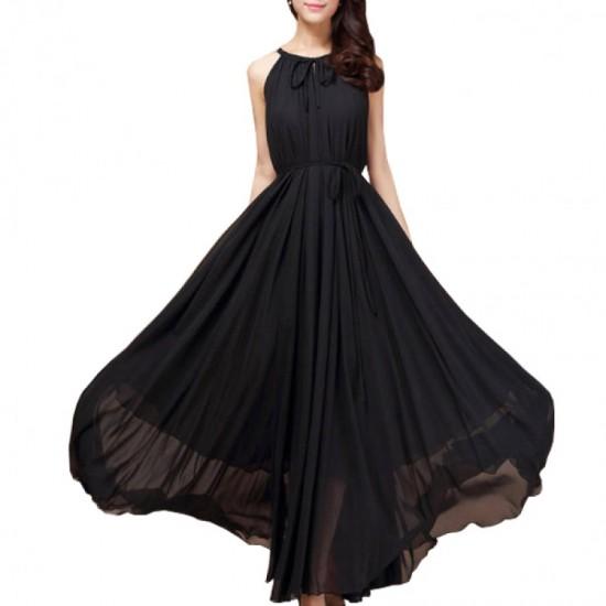 Sleeveless Bohemian Beach Maxi Chiffon Dress For Women-Black image